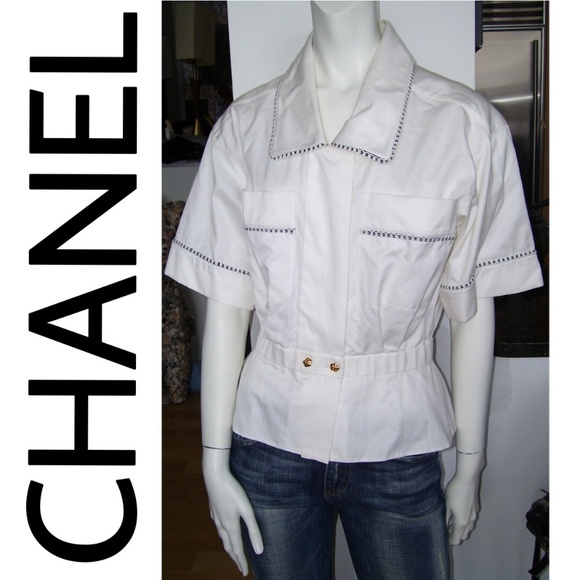 CHANEL Tops - CHANEL Authentic White Button Peplum Blouse Top! S